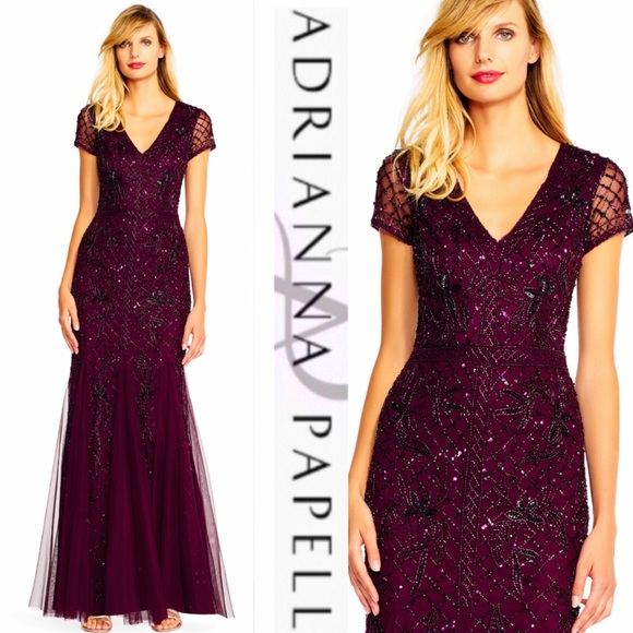 Adrianna Papell Dresses & Skirts - Adrianna Papell grid floral long beaded dress